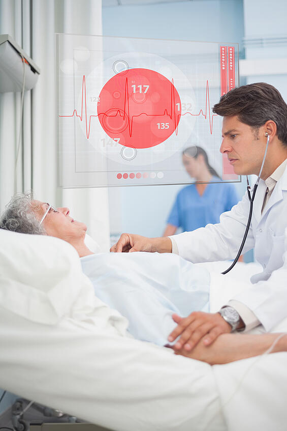 Doctor checking pulse of elderly patient beside hovering futuristic screen displaying ECG data