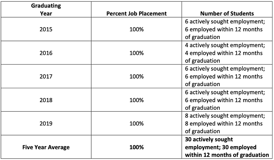 Job Placement Rate 2020