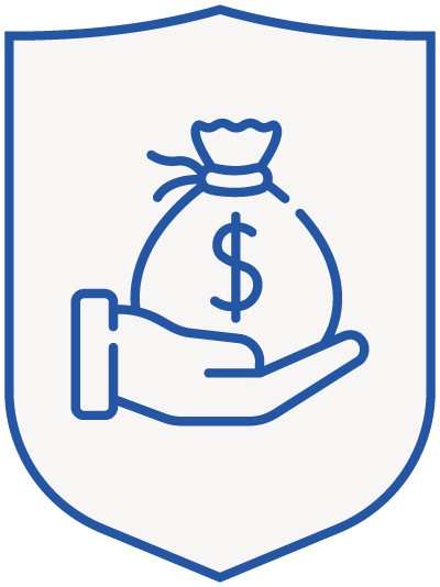 money (bag) in hand - blue shield