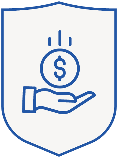 money (coin) in hand - blue shield