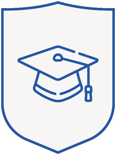 mortarboard - blue shield
