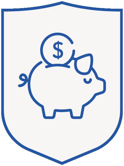 piggy bank - blue shield